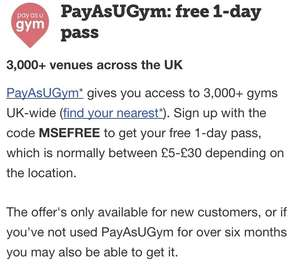 Free day pass with pay as you gym