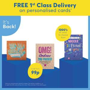 Free First Class Delivery on Personalised Cards - 99p @ Card Factory