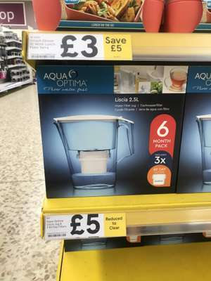 Tesco Aqua Optima Water Filter Jug with 6mths of filter £5 instore