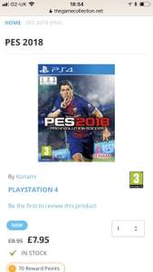 PS4 PES 2018 £7.95 with free delivery @ TGC