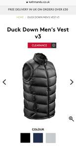 Duck down vest £34.99 was £99.99 - free delivery at kathmandu