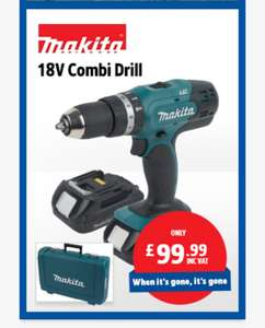 MAKITA DHP453SYE 18V 2x 1.5AH LI-ION battery LXT CORDLESS COMBI DRILL £99.99 @ screwfix