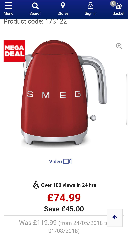 Smeg KLF11RDUK 1.7 litre  Jug kettle £74.99 Currys