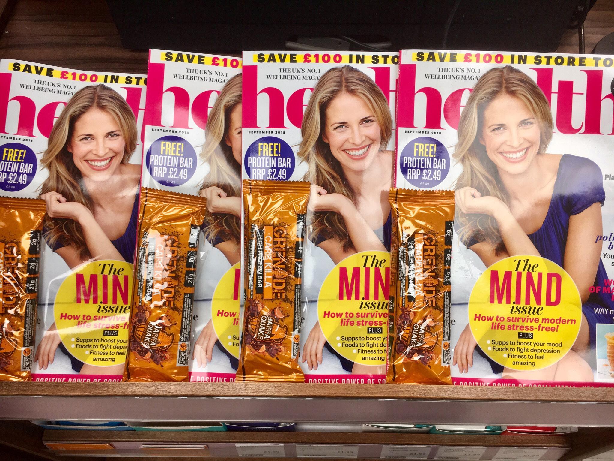 Free Grenade Bar + Loads of half Price vitamins etc coupons in Holland & Barrett Magazine £1.99