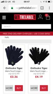 Winters coming !!! Asics onitsuka touchscreen gloves £3.36 Navy £3.47 Black £4.19 delivered at get the label with code ADFD18 also woolly hats £3.77 cheap Christmas stocking fillers