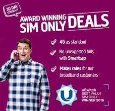 1.5GB 4G Data - Unlimited Minutes & Texts- 30 Days Sim £6 @ Plusnet Mobile