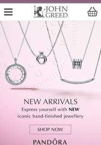 Pandora Jewellery - spend £120 get £20 off with code at John Greed