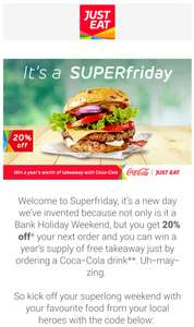 20% off (NO MINIMUM SPEND) / £3 off £15 / Various Discounts via Email @ Just Eat