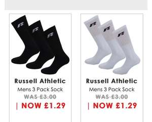 3 pack of black or white men's Russell Athletics sports socks £1.29 delivered at get the label GTL with code ADFD18