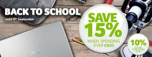 Acer - 10 % off everything Back to School  Sale (15% off on £800+ Spend)