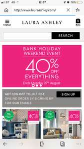 40% off everything plus extra 10% off for email signup @ Laura Ashley