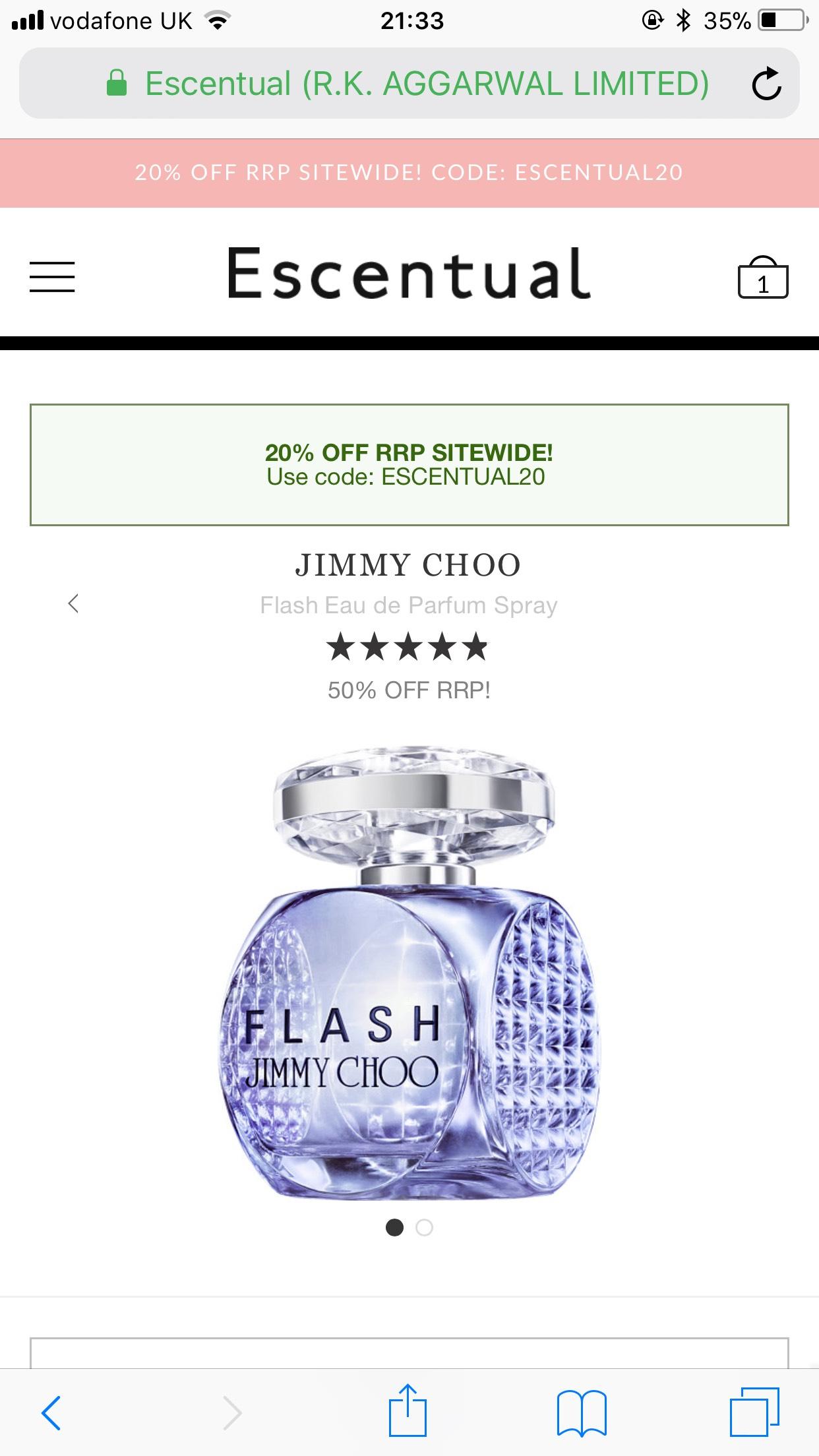 Jimmy choo flash edp 60ml at Escentual for £20.35