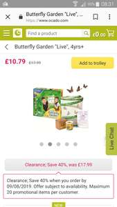 Live Butterfly garden from Ocado for £10.79