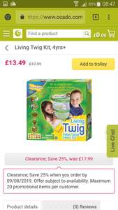 Ocado clearance. Living twig hugely discounted hatch, grow and look after stick insect kit. By insect lore £13.49