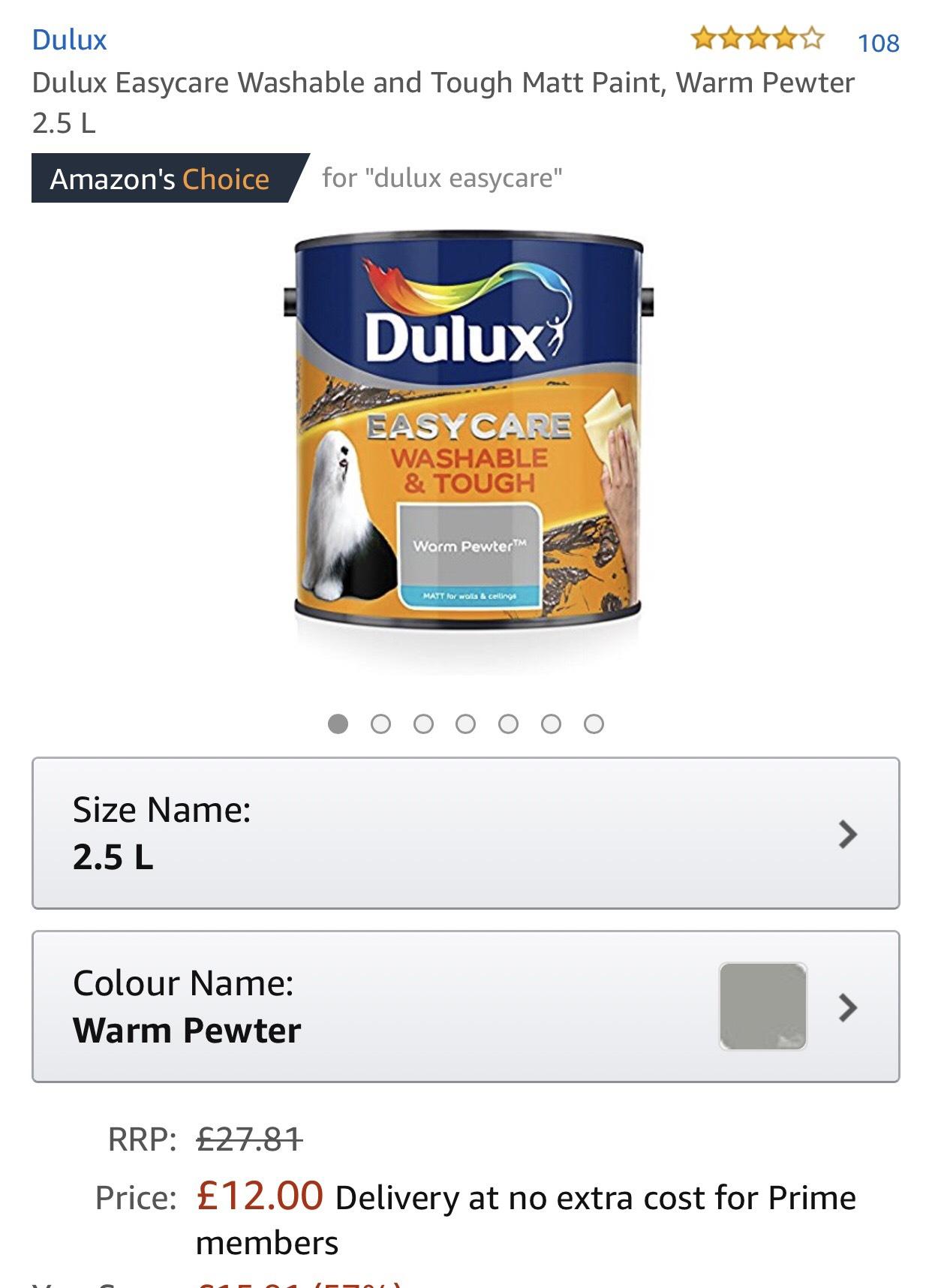 Various Dulux easycare paint £12 prime / £16.49 non prime on Amazon