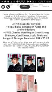 Tatler 12 issue subscription - FREE Charles Worthington Hair Products worth £23.97 - £28 @ Tatler