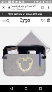 "Disney items reduced at Typo including 13"" laptop sleeve. Was £20 now £10 (+ £4 P&P / Free wys £25)"