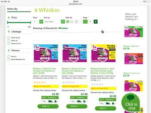 Whiskas cat food pouches 12 x 100g £2.50 @ Pets at home - Free c&c