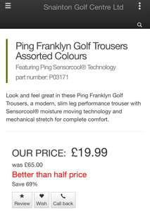 Ping Franklyn Golf Trousers (5 Colours) £19.99 / £22.48 delivered @ Snaiton golf