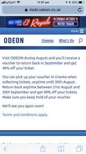 40% off in sep at Odeon cinemas when you visit before 31st August