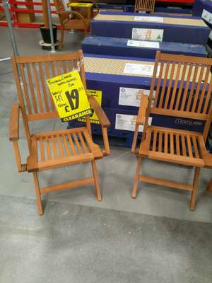 2 Wooden Folding Garden chairs with arms  - Better than half price - Reduced from £41 to £19.03 @ Bunnings Harlow