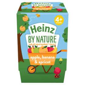 Heinz 4+ months by nature 2X 100g pots yoghurt, apple & banana & apricot ( 3 other flavours) 3 packs of 2 for £1 @ Asda