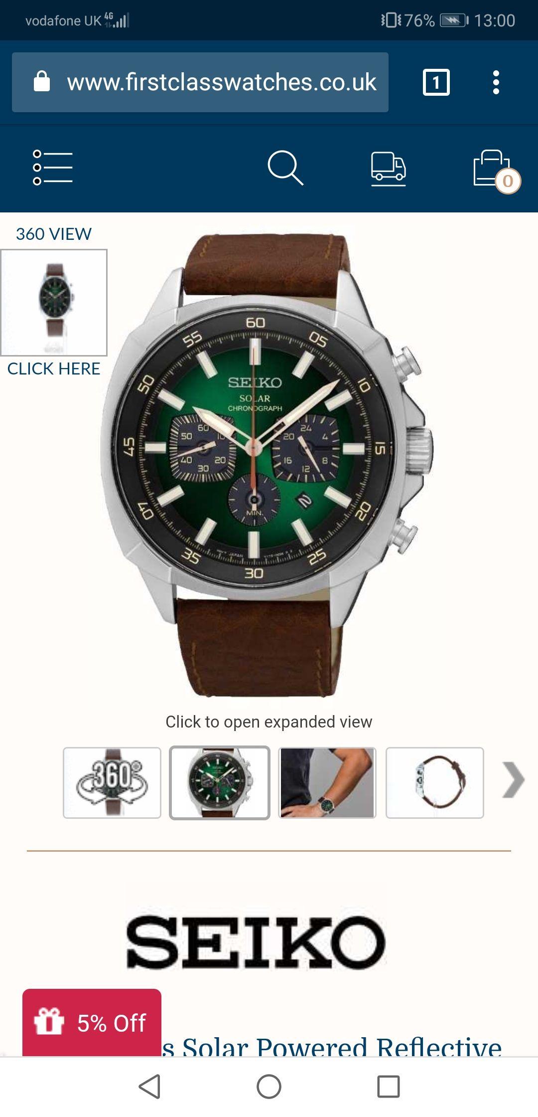 Seiko solar watch £188.32 @ First class watches