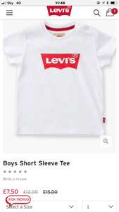 Levis Sale Kids T-shirts from £7.50 free delivery and 10% off