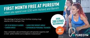 Free Month at Pure Gym + No joining Fee with £30 spend at Holland & Barrett