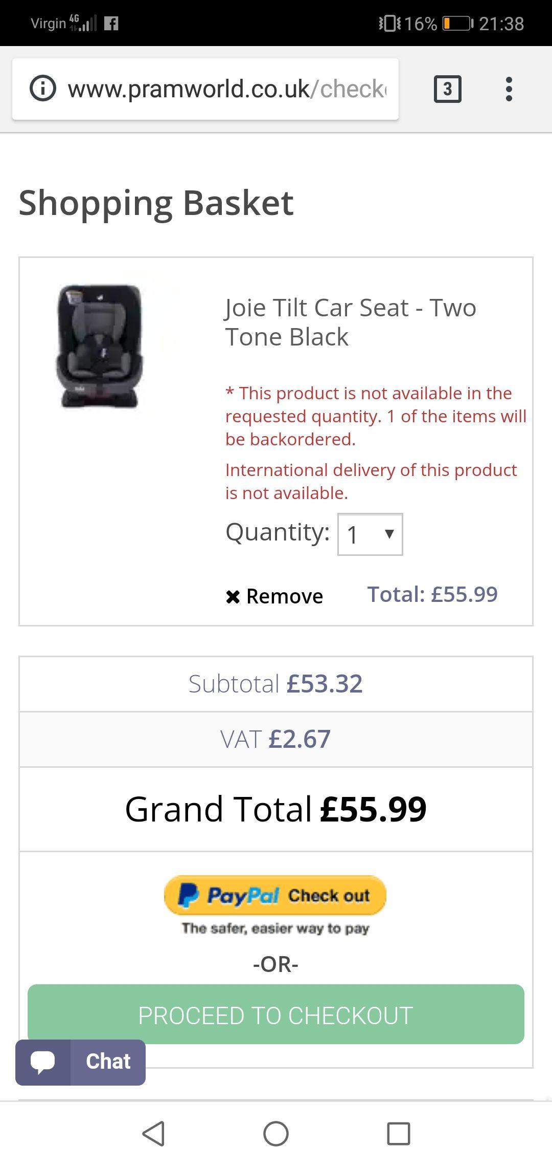 Joie Tilt Car Seat Pramworld Bargain - £55.99 @ Pramworld