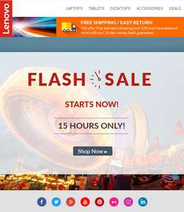 Lenovo ** FLASH SALE ** 15% OFF for 15 HOURS with code @ Lenovo UK