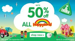 Massive Happyland Sale UPTO 50% Off at Early Learning Centre Plus Money off £50+ Spend