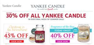 Yankee Candle Sale 30% off Also 50% Off In Clearance @ temptation gifts