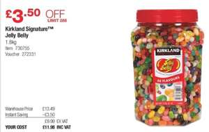 1.8Kg Kirkland signature jelly belly - £11.98 instore @ Costco warehouse.