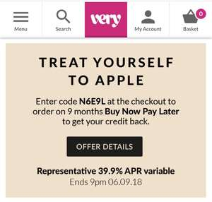 Upto £150 Cashback on Apple Products from VERY + 9 months interest Free