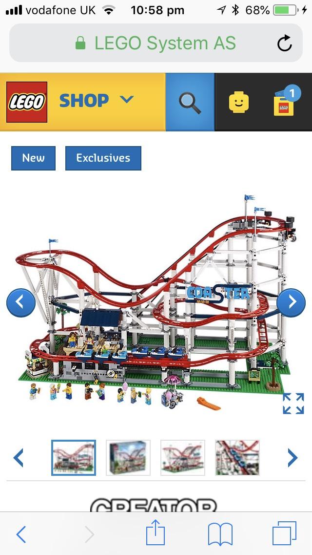 Lego creator roller coaster at Lego for £299