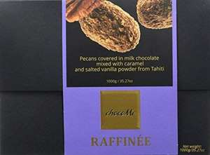 chocoMe Raffinee Gourmet Best Deal Luxury Chocolate Hamper/Ballotin, Exclusive Flavours of Pecans Coated with Caramel Milk Chocolate Rolled in Tahitian Vanilla Powder and Sea Salt Gift Box (1000g) £16.49 Prime / £20.98 Non Prime ' Amazon