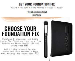 Buy studio fix foundation and 2 other items receive free foundation brush worth £35 and a makeup bag at Mac Cosmetics