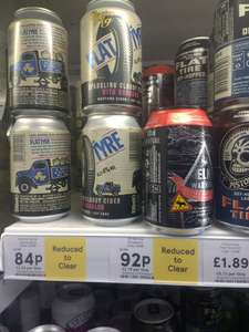 Flat tyre, elk warning ciders reduced to clear 84p Tesco Magdalen street Colchester express