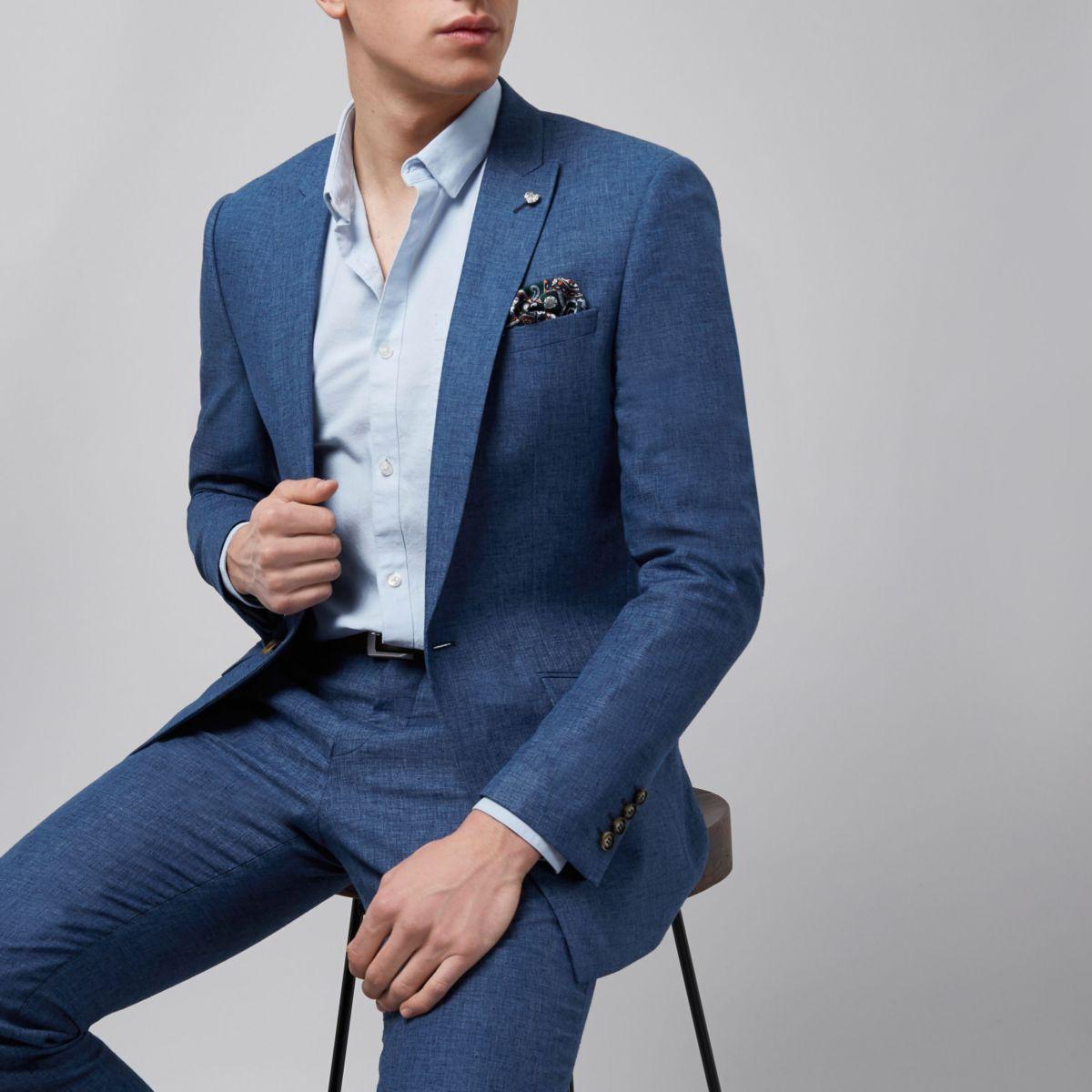 River Island - Blue linen slim fit suit  £70 / £73.95 delivered