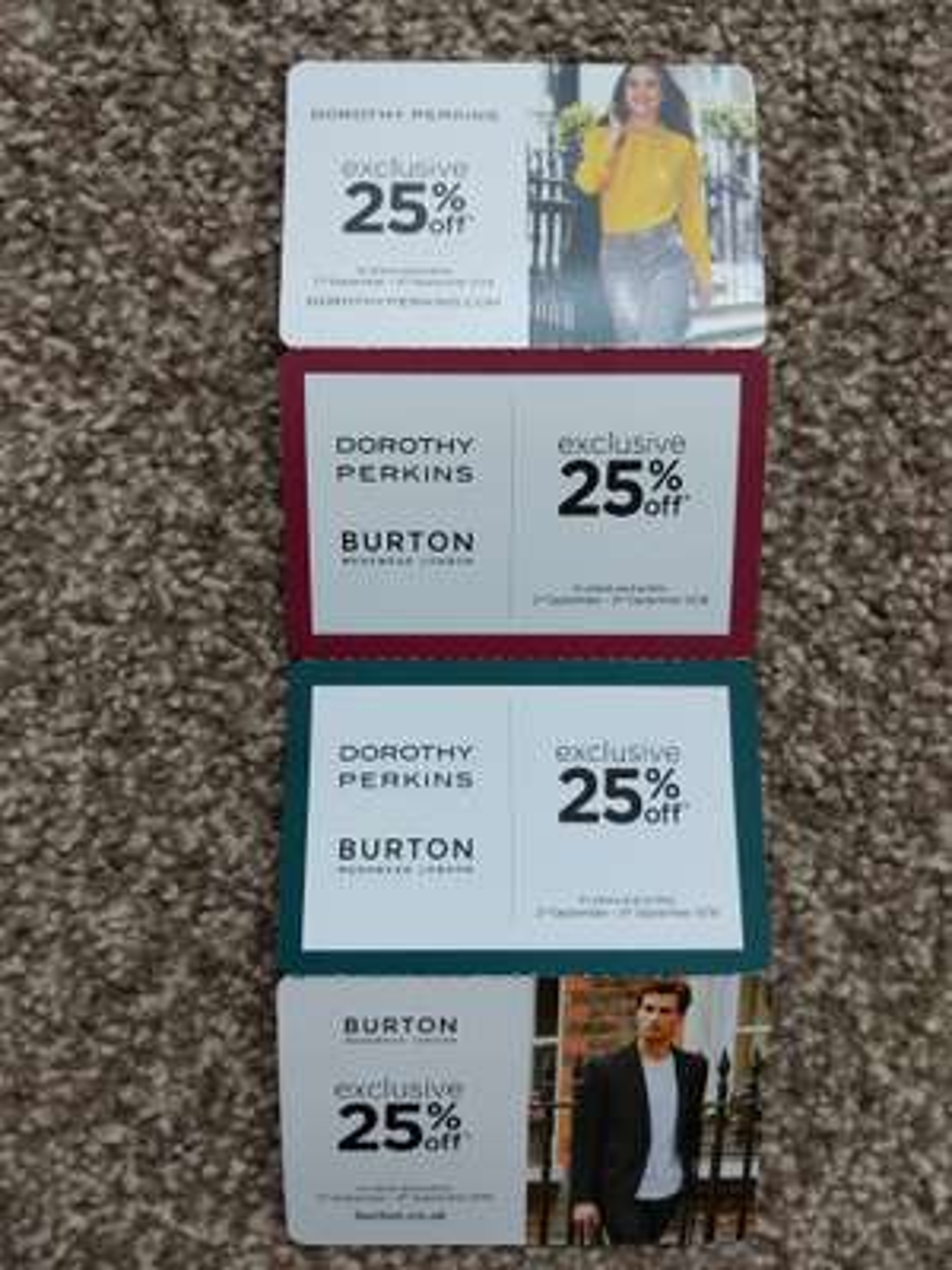 Burton & Dorothy Perkins 25% off