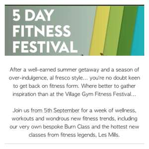 5 day village gym membership for £5