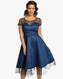 Upto 75% sale + 10% Off w/code: 'Leona' Royal Blue Polka Dot Mesh Prom Dress (Was £44) Now £9.00 (delivery £2.99 per order) at Lindy Bop