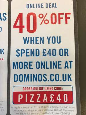 40% off when you spend £40 @ Dominos using code