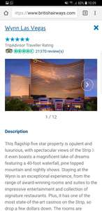 The Wynn Las Vegas, 10th June 2019, £748pp based on two sharing @ British Airways