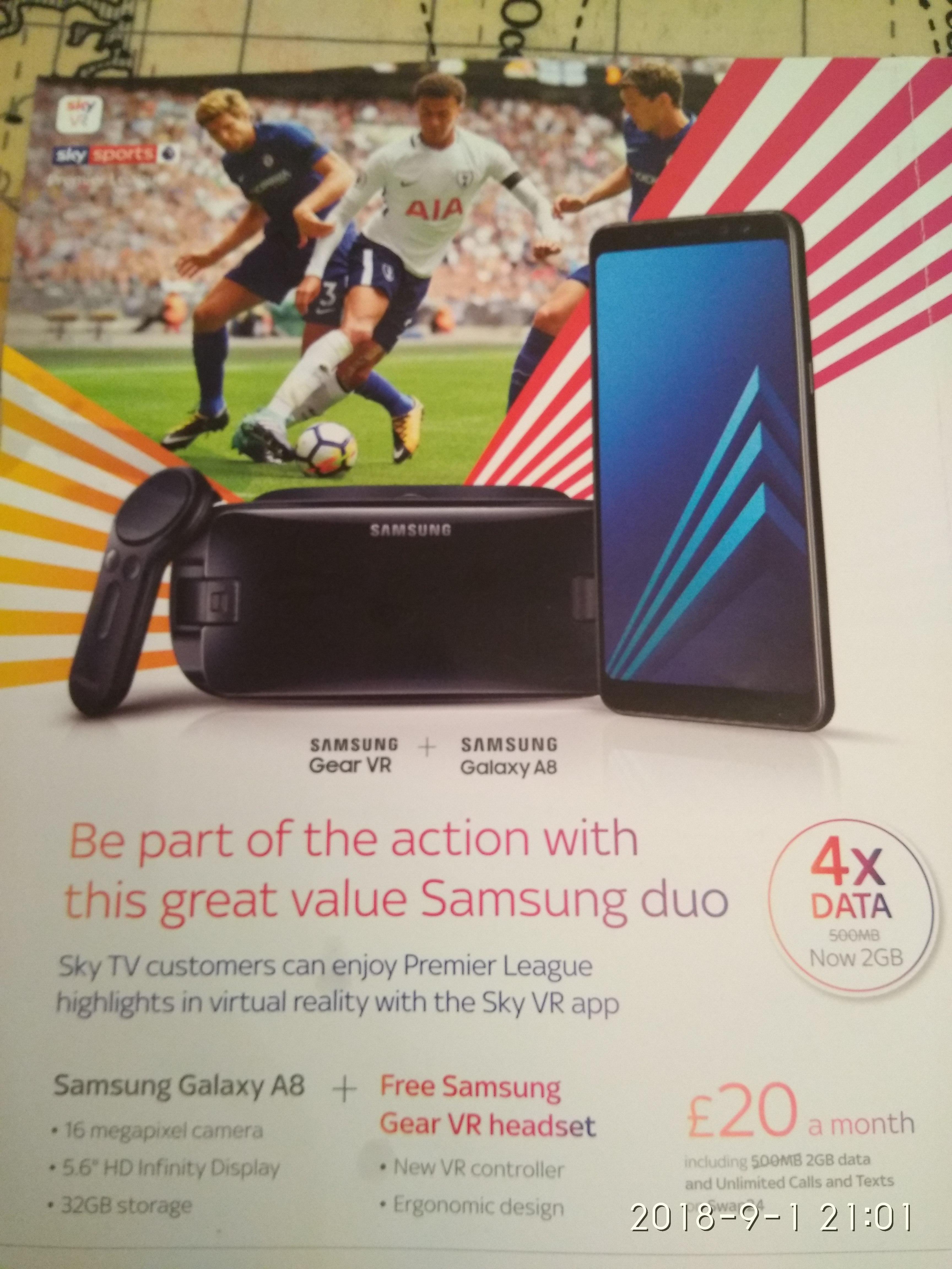 Samsung Galaxy A8 + Samsung Gear VR for 20 a month