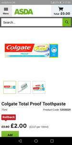 Asda colgate proof 75ml £2 @ Asda