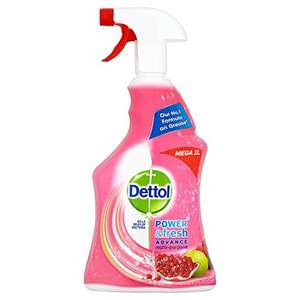 Dettol Power and Fresh Multi-Purpose Cleaning Spray, Pomegranate, 1 Litre, Pack of 3 amazon prime and subscribe and save 20% voucher available. £6 Prime / £10.49 non-Prime
