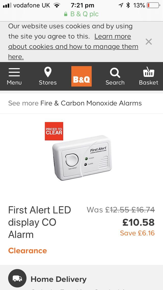 First Alert Co Alarm - £10.58 @ B&Q (free C&C)
