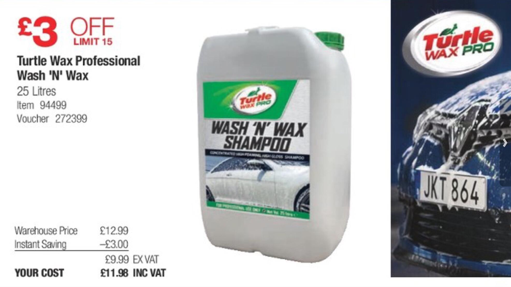 Turtle Wax Professional 'Wash n Wax' Shampoo 25 Litres £ 11.98 @ Costco